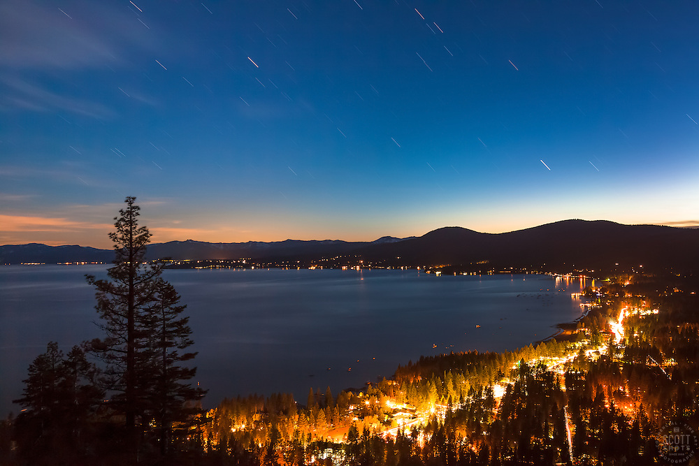 """Kings Beach at Night 1"" - Photograph of Kings Beach, Lake Tahoe shot at 9:30 at night."