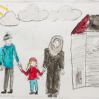 A drawing by a Syrian refugee child of her idea of a good future.