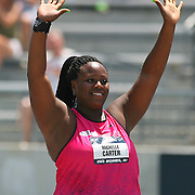 CARTER - 13USA, Des Moines, Ia.- Michelle Carter waves to the crowd after winning the shot put.  Photo by David Peterson
