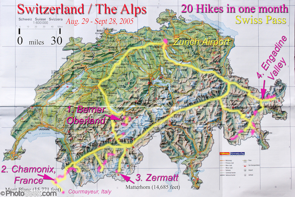 Switzerland travel map from Zurich to Berner Oberland Chamonix – Switzerland Travel Map