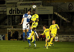 Alfie Kilgour of Bristol Rovers and Ousman Saidy of Portsmouth challenge for a header - Mandatory byline: Robbie Stephenson/JMP - 07966 386802 - 17/11/2015 - Rugby - Memorial Ground - Bristol, England - Bristol Rovers v Portsmouth - FA Youth Cup
