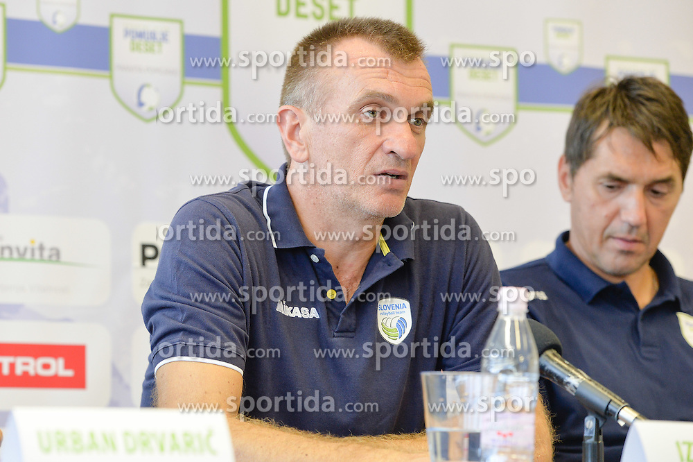 Iztok Ksela,head coach of U21 Nationalteam of Slovenia during the press conference before the Friendly Volleyball match between OK Panvita Pomgrad and U21 Nationalteam of Slovenia on August 28, 2015 in Murska Sobota, Slovenia. Photo by Mario Horvat / Sportida