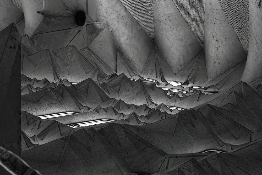 One of the endlessly stunning views of an architectural detail inside Sagrada Familia in Barcelona.
