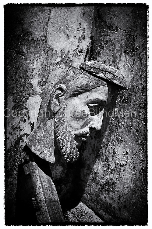 Abandoned head of Christ at a church on Kayts island. Jaffna.