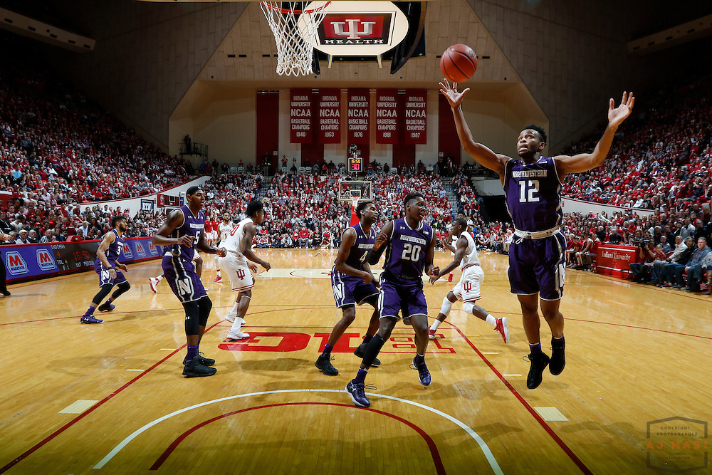 Northwestern guard Isiah Brown (12) in action as Northwestern played Indiana in an NCCA college basketball game in Bloomington, Ind., Saturday, Feb. 25, 2017. (AJ Mast)