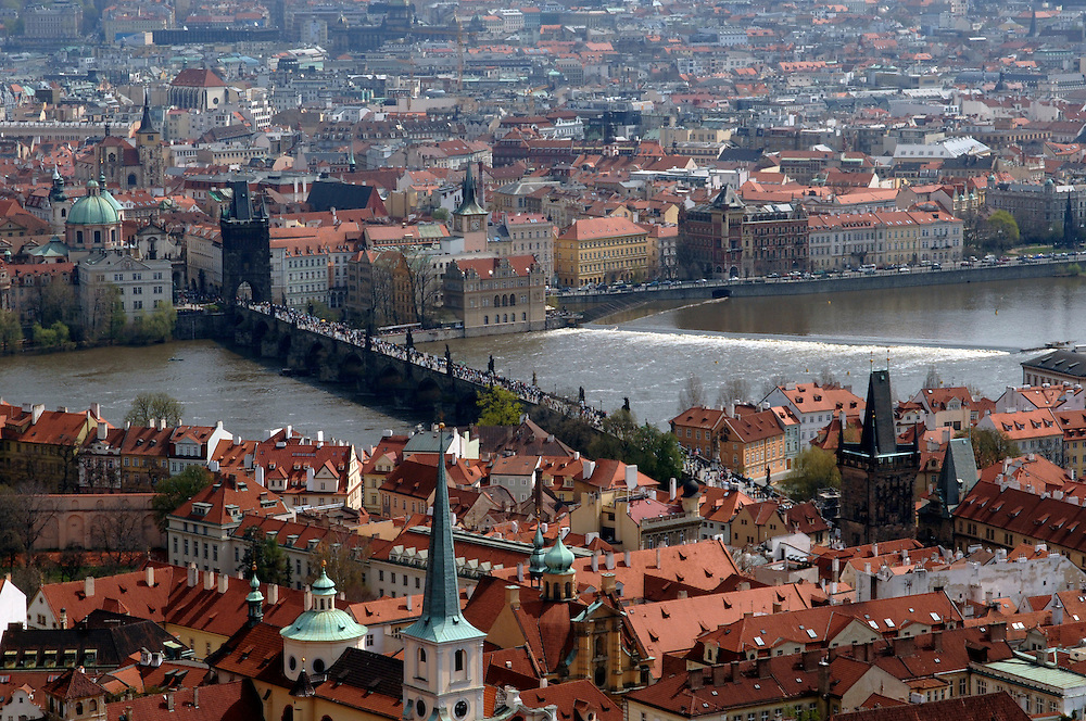 Prague, Czech republic. Charles bridge over Vltava river. Old town Prague seen in background.