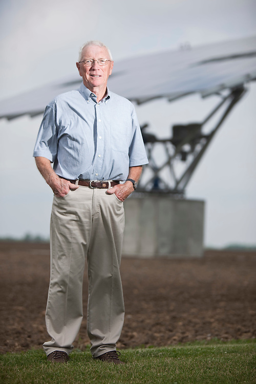 Strathroy, Ontario ---11-06-22--- Wray Taylor, 73 stands near one of his solar panels at his home near Strathroy, Ontario, June 22, 2011. Taylor has 2 panels but is waiting for Hydro 1 to hook up his second one to the grid, allowing him to recoup his investment.<br /> GEOFF ROBINS Toronto Star