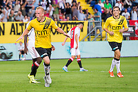 BREDA - NAC - Jong Ajax , Voetbal , Seizoen 2015/2016 , Jupiler league , Rat Verlegh Stadion , 21-08-2015 , NAC Breda Sjoerd Ars (l) staat voor het eerst in de ploeg en maakt gelijk een doelpunt voor de 3-0