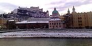 Salzburg with river in winter