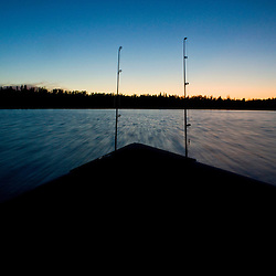 Fishing on Flanders Lake in the Nopiming Provincial park in northeastern Manitoba, Canada.