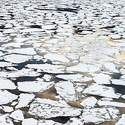 Aerial view of depleted sea ice in the Arctic Ocean, at approximately 83 degrees north. September 2012 saw the smallest minimum extent of Arctic sea ice since satellite record keeping began 33 years earlier.