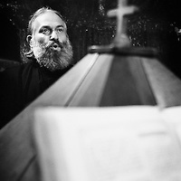 Neamt County, Romania, July 2007<br /> Father Gabriel sings orthodox hymns during a mass at the Neamt monastery.<br /> Photo: Ezequiel Scagnetti