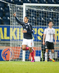 Falkirk's Lyle Taylor celebrates after scoring their first goal..Falkirk v Livingston, 19/2/2013..©Michael Schofield.