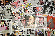 London, Britain. 12th Jan, 2016. British newspaper front pages following the death of David Bowie