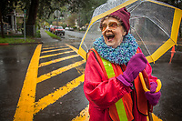 """Calistoga Elementary crossing guard, Randa Lee Durall  """"I've lived in Calistoga for 15 years and I've worked here for the past nine years...I wish I could remember the names of the kids.  The vineyards keep Calistoga from getting any bigger...I like that."""""""