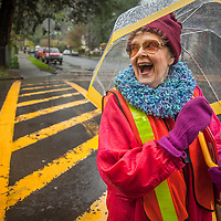 "Calistoga Elementary crossing guard, Randa Lee Durall  ""I've lived in Calistoga for 15 years and I've worked here for the past nine years...I wish I could remember the names of the kids.  The vineyards keep Calistoga from getting any bigger...I like that."""