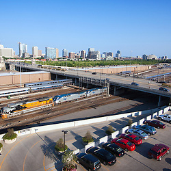 "The Union Pacific's Rio Grande ""Heritage"" SD70ACe leads Amtrak's eastbound California Zephyr into Chicago, here passing under Roosevelt Road just shy of Union Station."