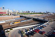 """The Union Pacific's Rio Grande """"Heritage"""" SD70ACe leads Amtrak's eastbound California Zephyr into Chicago, here passing under Roosevelt Road just shy of Union Station."""