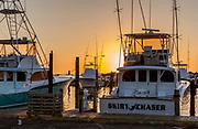 NC00737-00...NORTH CAROLINA - Boats in the Oregon Inlet Marina at sunrise, Bodie Island, Cape Hatteras National Seashore.