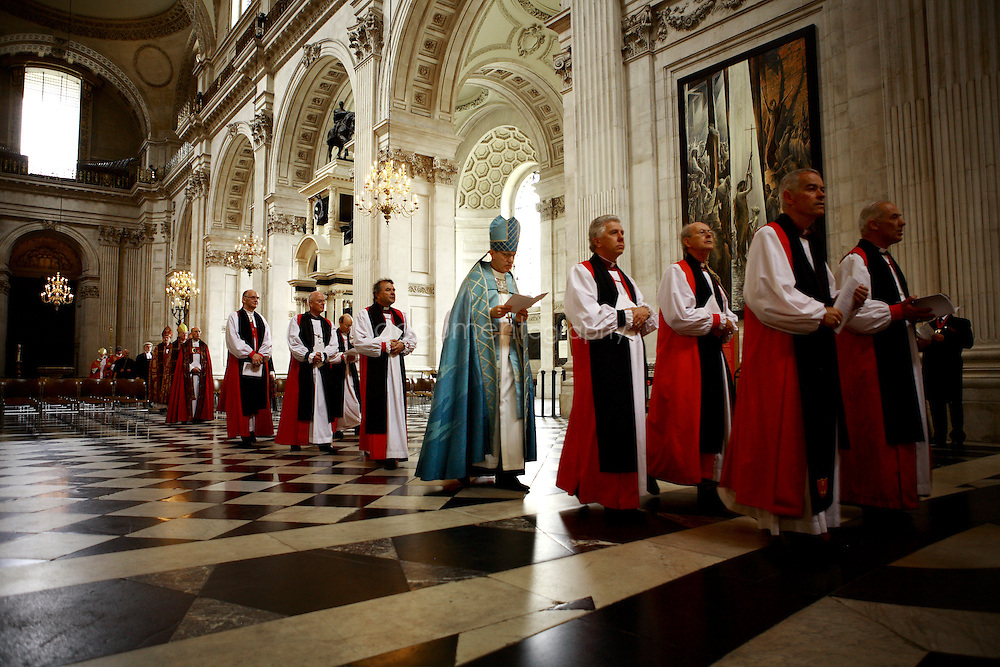 Bishops walk in the cathedral during the Consecration of the Bishop of Repton at St Paul's.