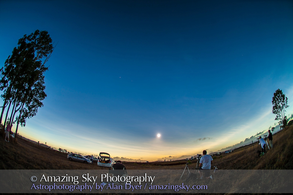 The total eclipse of the Sun, November 14, 2012, from a site near Lakeland Downs, Queensland. Shot with the Canon 5D Mark II and 15mm lens for a wide-angle view showing the Moon's conical shadow darkening the sky up to the Sun with the last bit of the Sun disappearing at second contact.