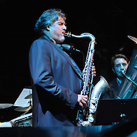 Tony Malaby plays in his Tony Malaby Tuba Trio at the Culture Project Theater on Bleeker Street with Dan Peck playing tuba and John Hollenbeck on drums during the NYC Winter Jazz Fest, Friday January 11, 2013.