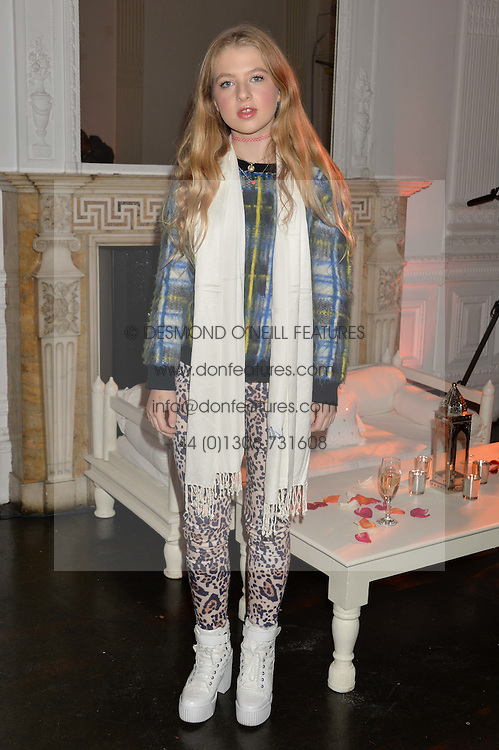 ANAIS GALLAGHER daughter of Noel Gallagher at White by Agadir hosted by the Moroccan National Tourist Office to celebrate the White City in Morocco in the presence of H.H.Princess Lalla Joumala, Ambassador of HM The King of Morocco held at Il Bottaccio, 9 Grosvenor Place, London on 4th November 2014.