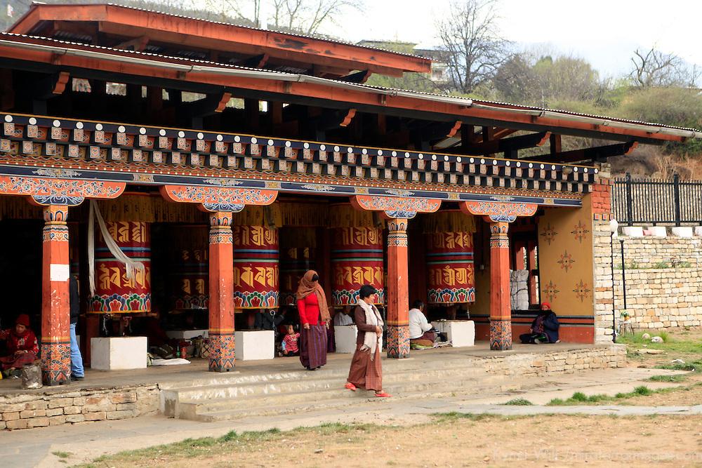 Asia, Bhutan, Thimpu. Prayer Wheels at the Memorial Chorten