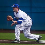 Delaware Infielder Nick Liggett (22) covers first base during a regular season baseball game between Delaware and Saint Joseph's at Bob Hannah Stadium Tuesday April 19, 2016, in Newark.