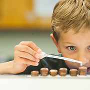 A young student tries to see how many drops of water fit on the head of a penny in the science lab at Gonzaga. Gonzaga science teachers catch up on new techniques in the lab.<br /> <br /> Photo by Rajah Bose