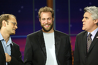 23 May 2003: TV host Jay Leno with NHL Anaheim Ducks goalie Jean Sebastien Giguere on the set of a night taping of NBC's hit The Tonight Show with Jay Leno at the NBC Studios in Burbank, CA.