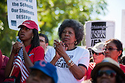 Chicago Teachers Union members and allies listen to speakers at the rally in Union Park on September 15, 2012.