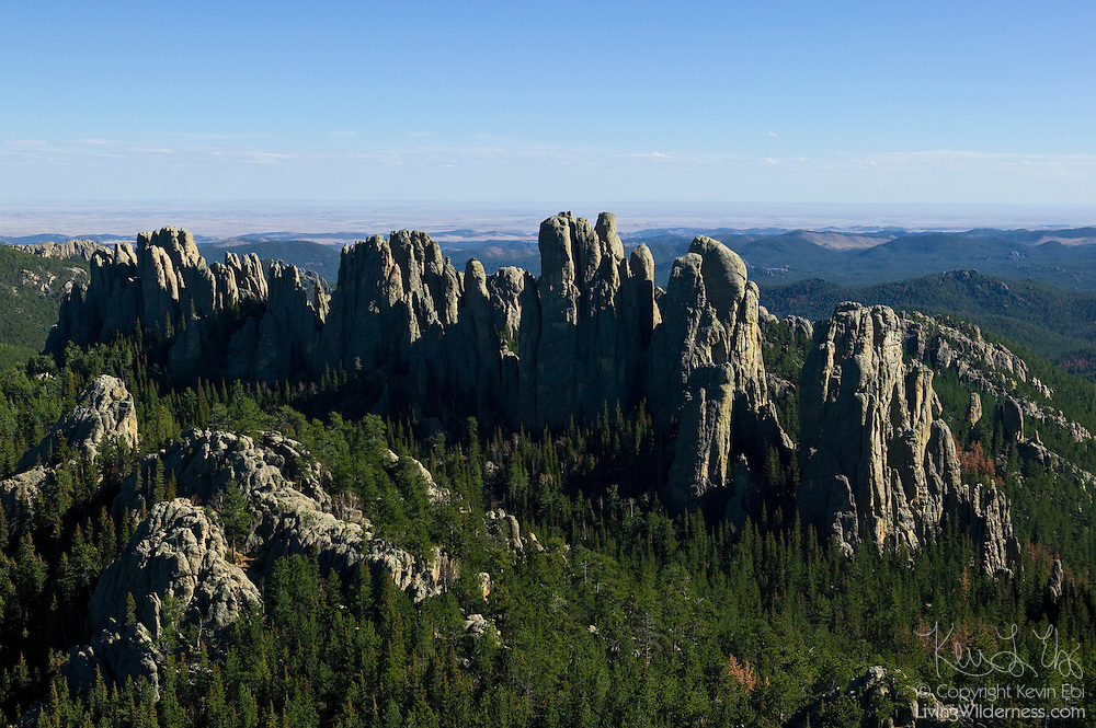 The dramatic Cathedral Spires rise nearly a thousand feet from the surrounding landscape in Custer State Park, South Dakota. This image was captured from the summit of Little Devils Tower.