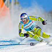 SHOT 12/2/12 2:02:05 PM - Norwegian skier Aksel Lund Svindal works his way around a gate during the Birds of Prey Men's Giant Slalom race at Beaver Creek Ski Resort in Beaver Creek, Co. on Sunday December 2, 2012. (Photo by Marc Piscotty / © 2012)