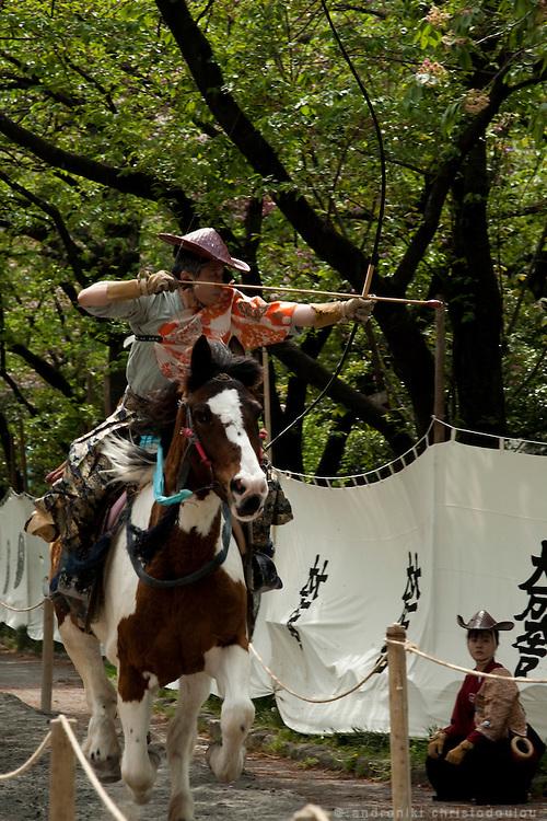 Yabusame archers shooting during the Yabusame ritual in Asakusa