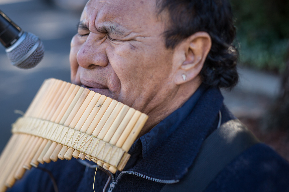 Bolivian/world musician Oscar Reynolds performs on the Samponia flute at the Calistoga Saturday Market.