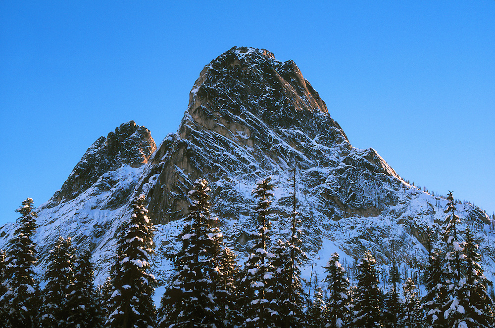 Liberty Bell Mountain from North Cascades Highway at Washington Pass; Okanogan National Forest, Washington..