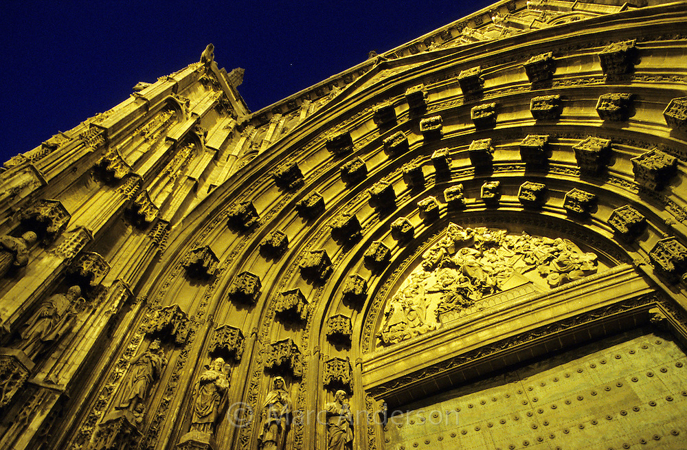 The Cathedral in Seville at night, Spain
