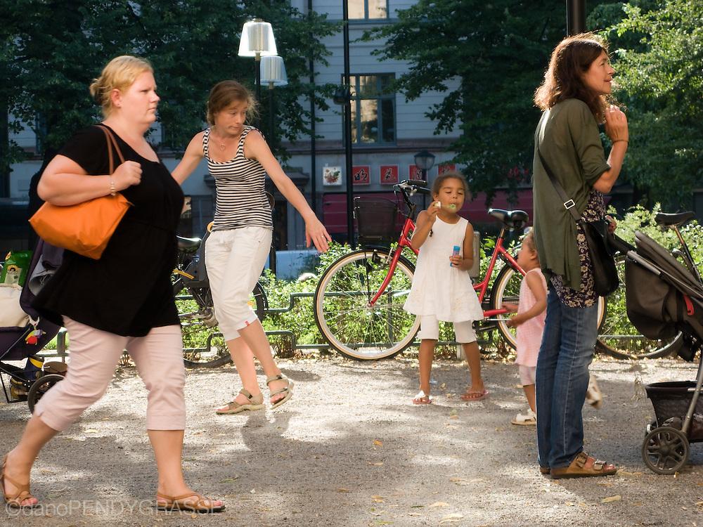 An interesting street scene in Stockholm, Sweden.
