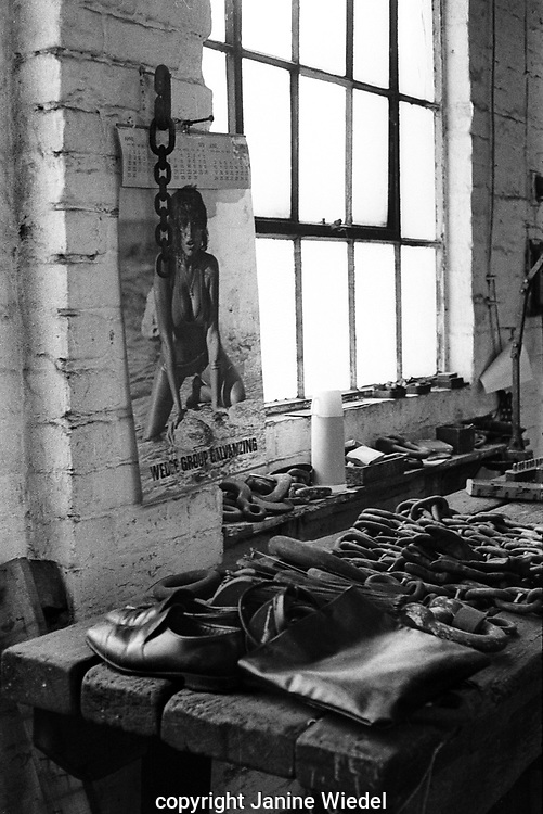 Sexy safety posters at Chain making at Barzillai Hingley in Cradley Heath, The Black Country West Midlands UK 1977