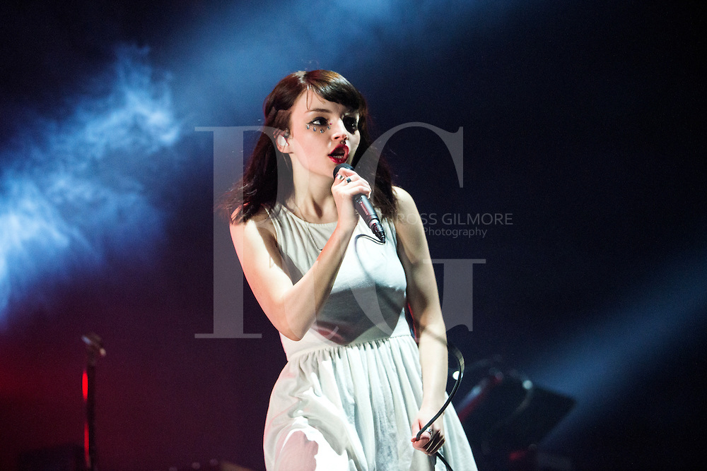 Lauren Mayberry of Chvrches performs at The SSE Hydro on April 2, 2016 in Glasgow