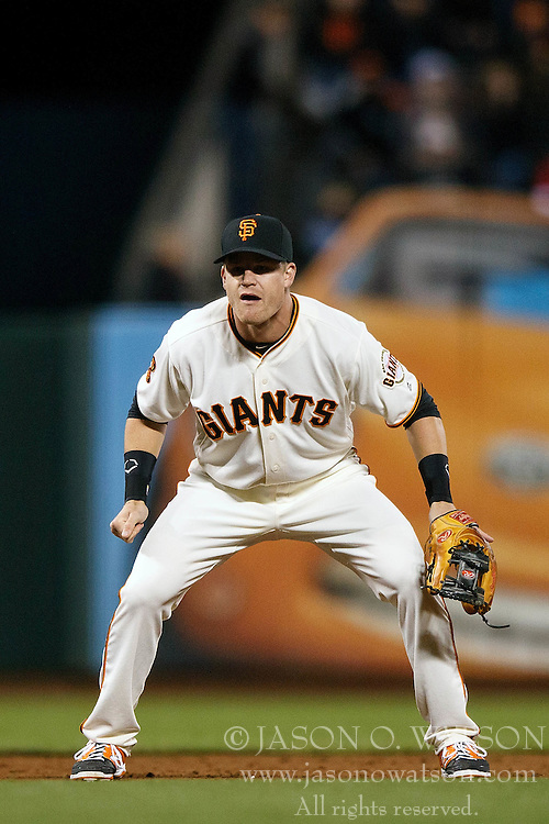 SAN FRANCISCO, CA - SEPTEMBER 29:  Gordon Beckham #17 of the San Francisco Giants stands on the field during the ninth inning against the Colorado Rockies at AT&T Park on September 29, 2016 in San Francisco, California. The San Francisco Giants defeated the Colorado Rockies 7-2. (Photo by Jason O. Watson/Getty Images) *** Local Caption *** Gordon Beckham