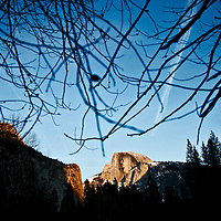 Winter scenes in Yosemite Valley located in the Yosemite National Park..Half Dome seen from the Yosemite Valley floor..