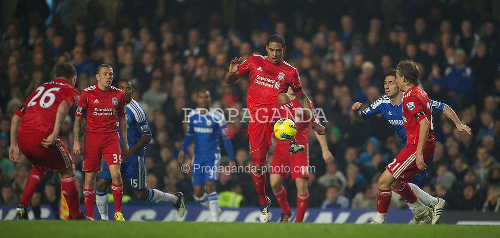 LONDON, ENGLAND - Sunday, November 20, 2011: Liverpool's Glen Johnson in action against Chelsea during the Premiership match at Stamford Bridge. (Pic by David Rawcliffe/Propaganda)