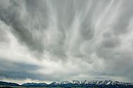 Bridger Mountains, storm clouds, west of Wilsall, Montana