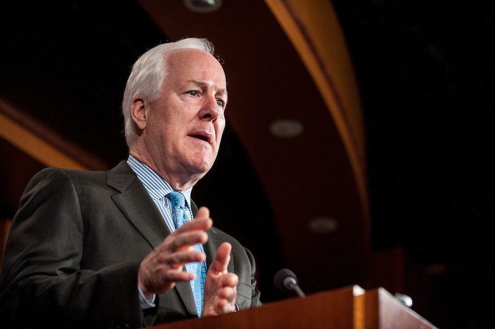 Senator JOHN CORNYN (R-TX) speaks to the media on Capitol Hill Tuesday during a news conference to discuss recent the national security leaks and to call for an independent council to investigate.