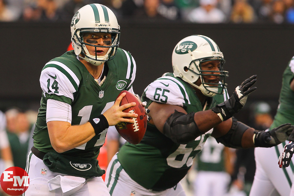 Dec 2, 2012; East Rutherford, NJ, USA; New York Jets quarterback Greg McElroy (14) runs with the ball during the second half at MetLIfe Stadium. The Jets defeated the Cardinals 7-6.