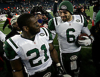 New York Jets quarterback Mark Sanchez (6) shakes hands with running back LaDainian Tomlinson while the two celebrated their win over the New England Patriots in the AFC division playoff game at Gillette Stadium in Foxboro, Massachusetts on January 16, 2011.  The Jets defeated the Patriots 28-21.  UPI/Matthew Healey