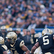 Army DB (#14) Josh Jackson FUMBLES The ball during the punt return. Navy set the tone early in the game as Navy defeats Army 31-17 in front of 69,223 at Lincoln Financial Field in Philadelphia Pennsylvania