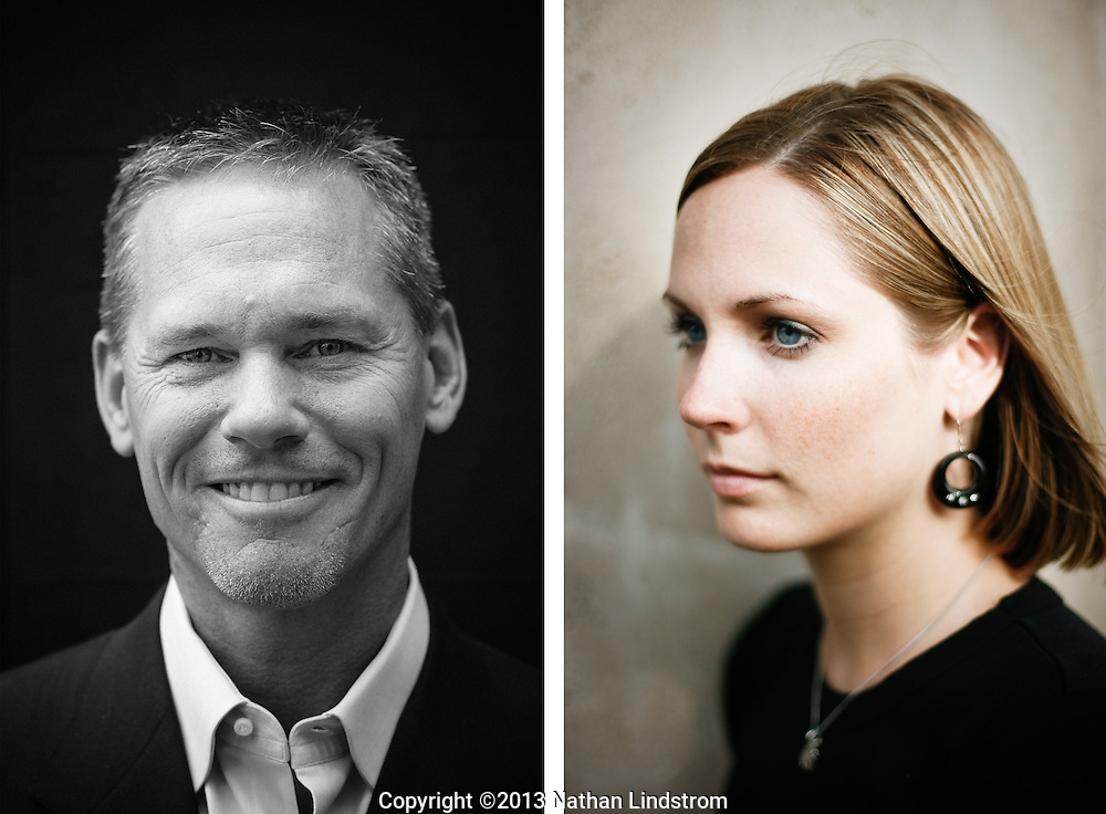 Head shots of a man and woman.<br /> <br /> Photographed by editorial and commercial Houston photographer Nathan Lindstrom